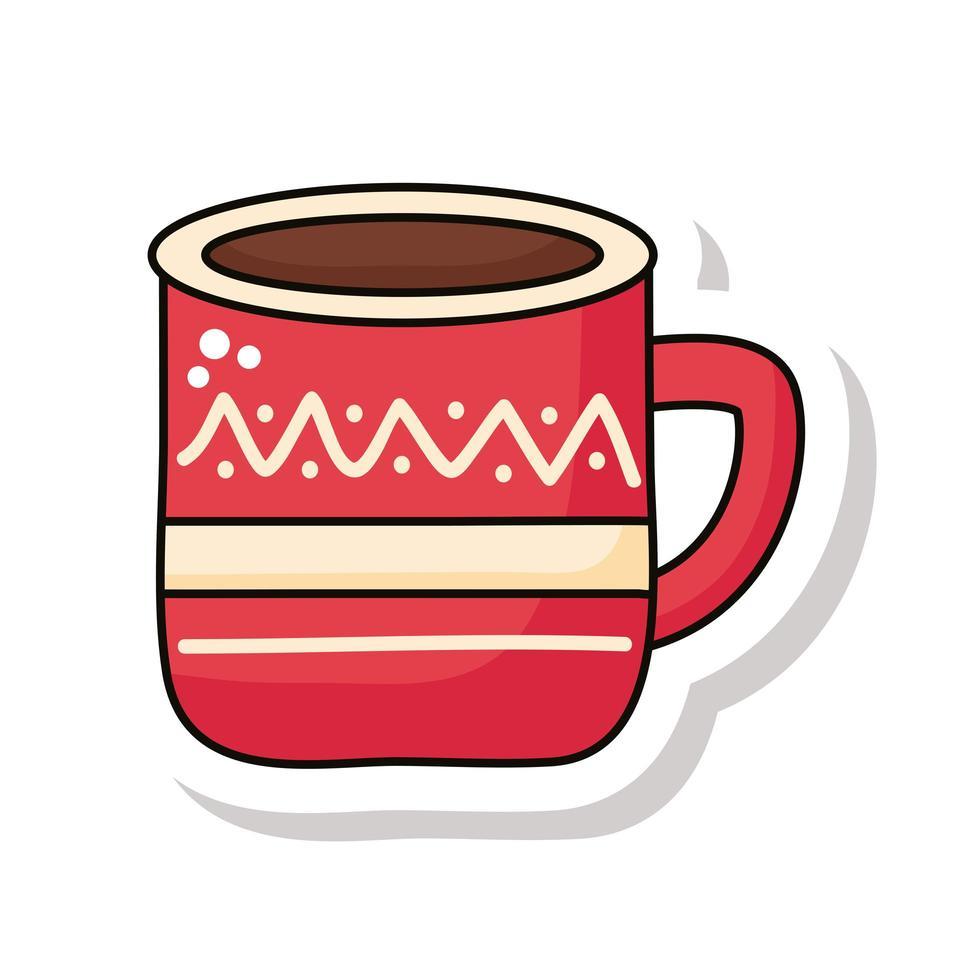 buon natale cup sticker icon vettore