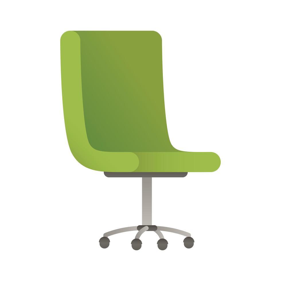 Elegante sedia da ufficio verde icona illustrazione vettoriale design