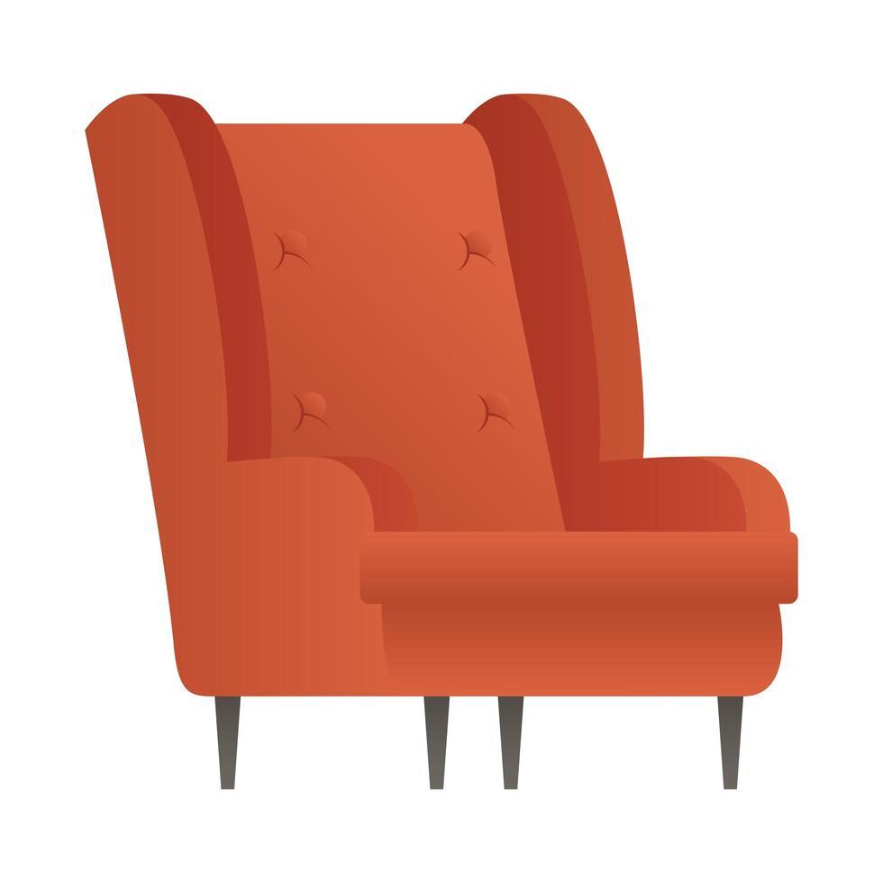 Divano rosso divano mobili casa icona isolato illustrazione vettoriale design