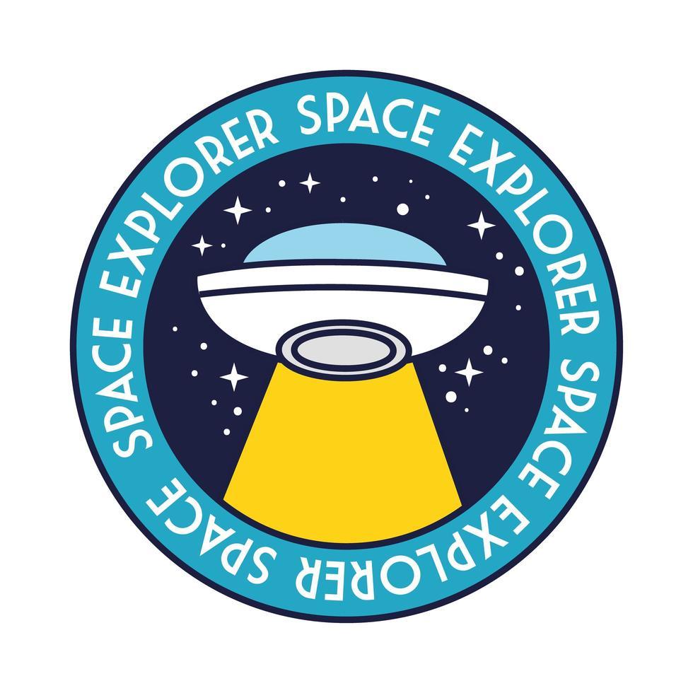 distintivo spaziale con volo ufo e linea di lettere di esploratore spaziale e stile di riempimento vettore