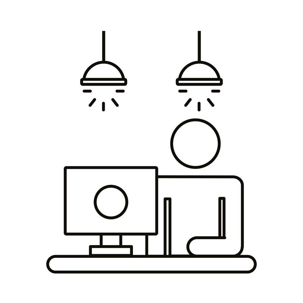 avatar utente che lavora nell'icona di stile della linea del desktop vettore