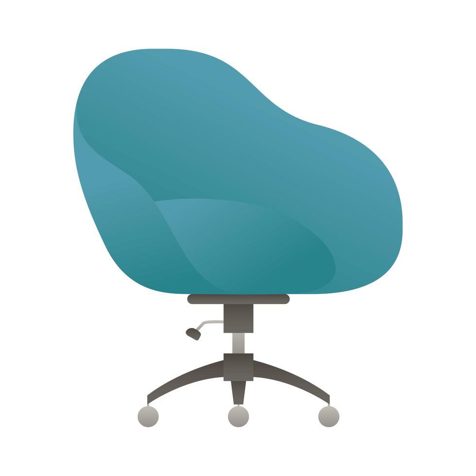 Elegante sedia da ufficio blu isolato icona illustrazione vettoriale