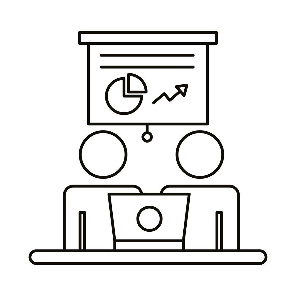 coppia di avatar che lavorano su laptop e icona di stile della linea di statistiche vettore