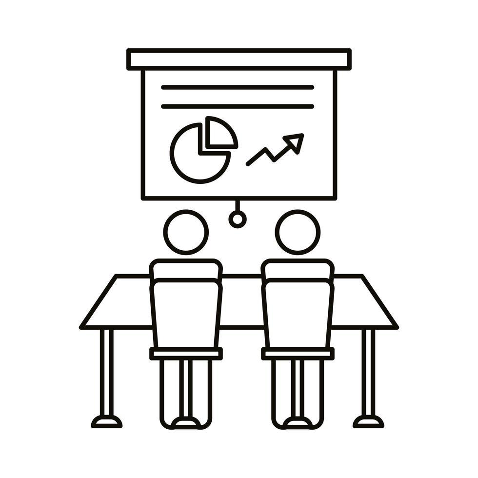 avatar coppia coworking con icona di stile linea di cartone e statistiche vettore