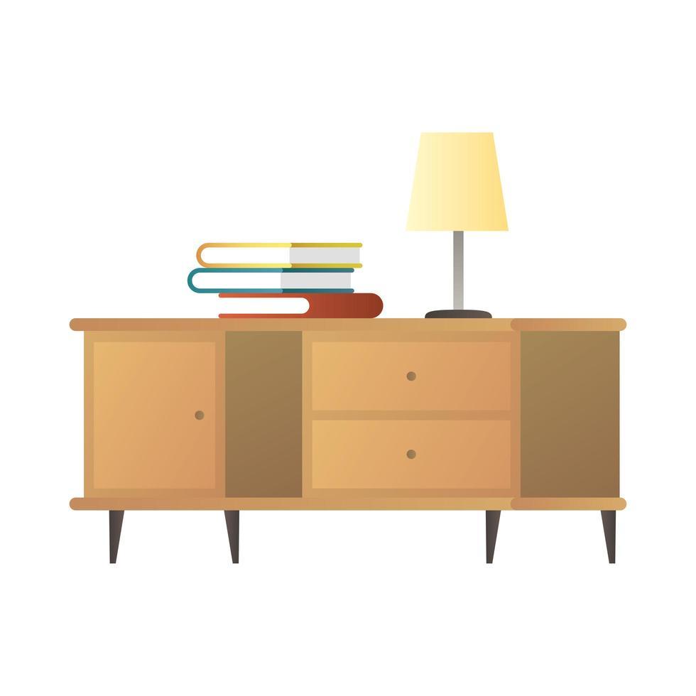lampada e libri sull & # 39; illustrazione di vettore del comò in legno