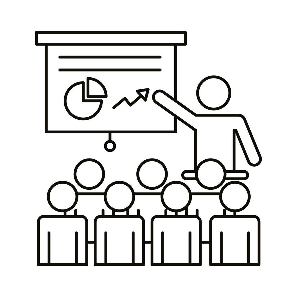 gruppo di lavoratori in formazione con stile di linea di cartone e statistiche vettore
