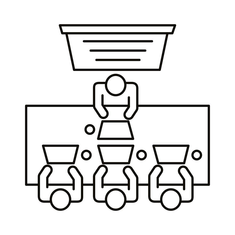 quattro lavoratori seduti al tavolo con l'icona di stile di linea di computer vettore