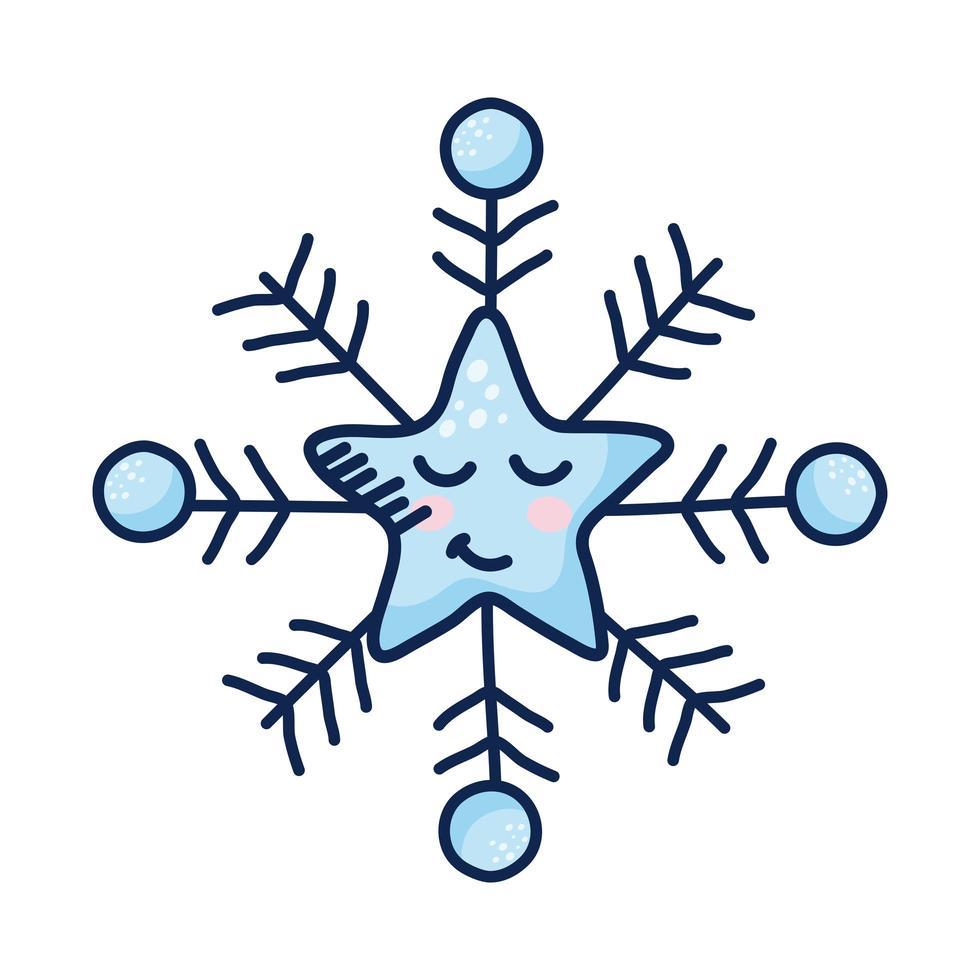 personaggio comico fiocco di neve stella kawaii vettore