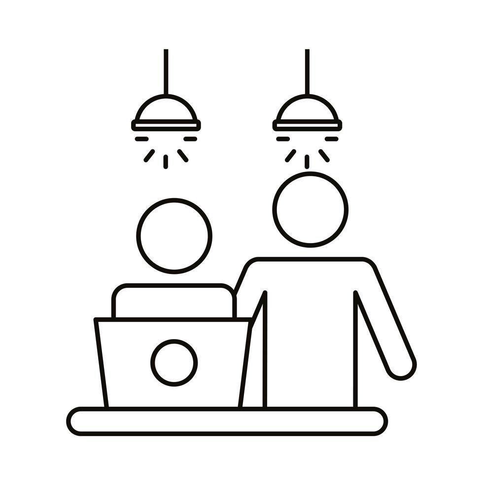 coppia di avatar che lavorano su stile linea laptop vettore
