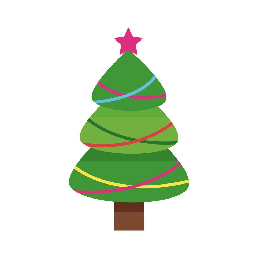 felice albero verde di buon natale con stelle e ghirlande vettore
