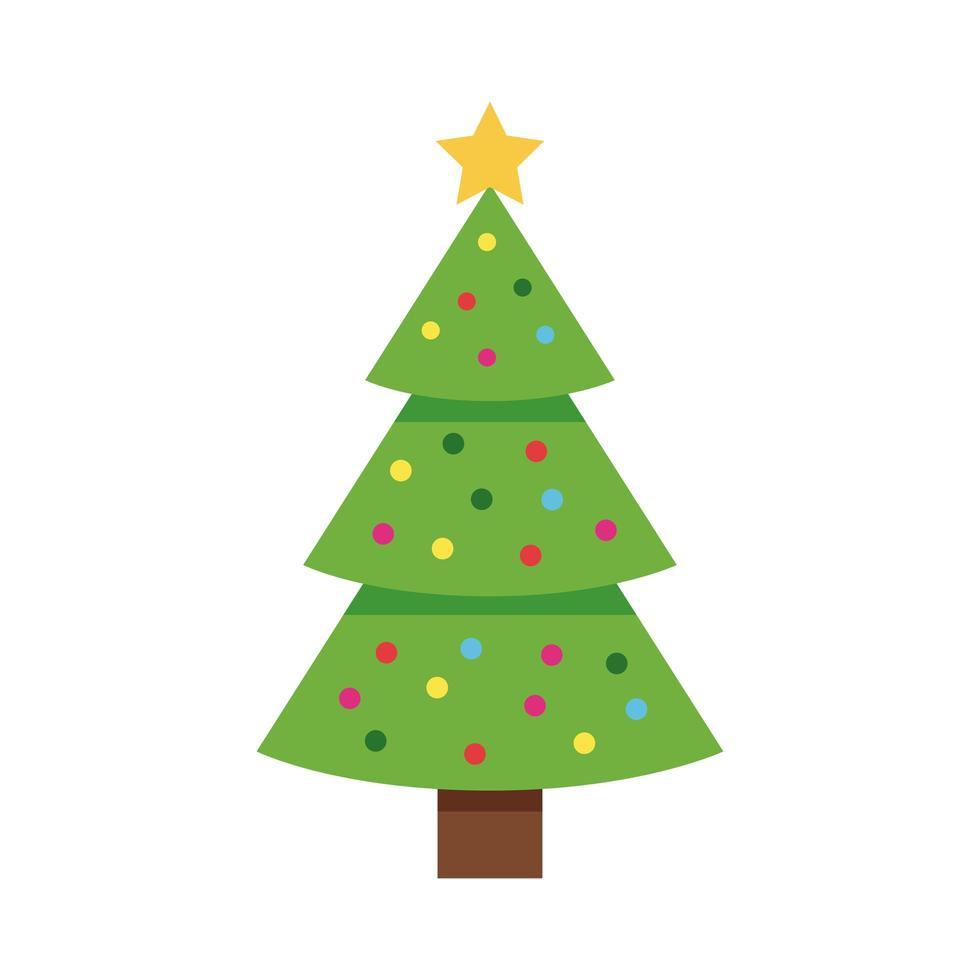 felice albero verde di buon natale con palline di stelle e colori vettore
