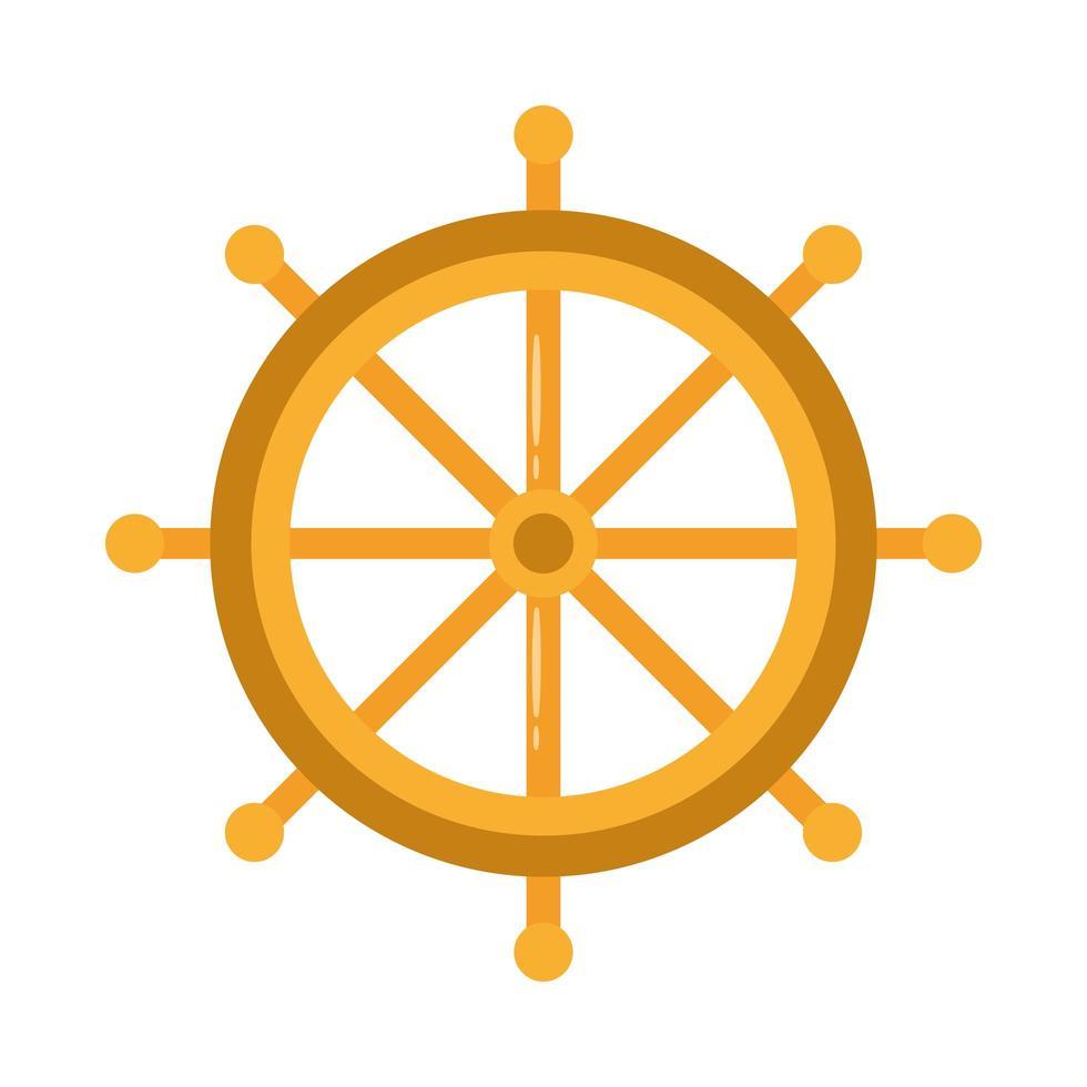 icona di stile piatto della nave del timone vettore