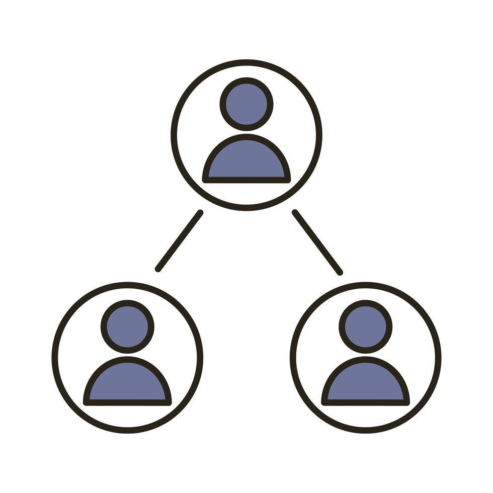 linea di persone di lavoro di squadra e icona di stile di riempimento vettore