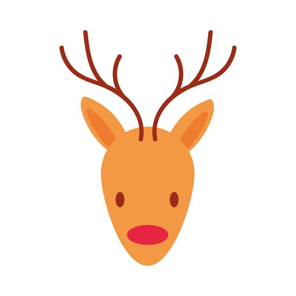 Buon Natale renne icona di stile piatto vettore