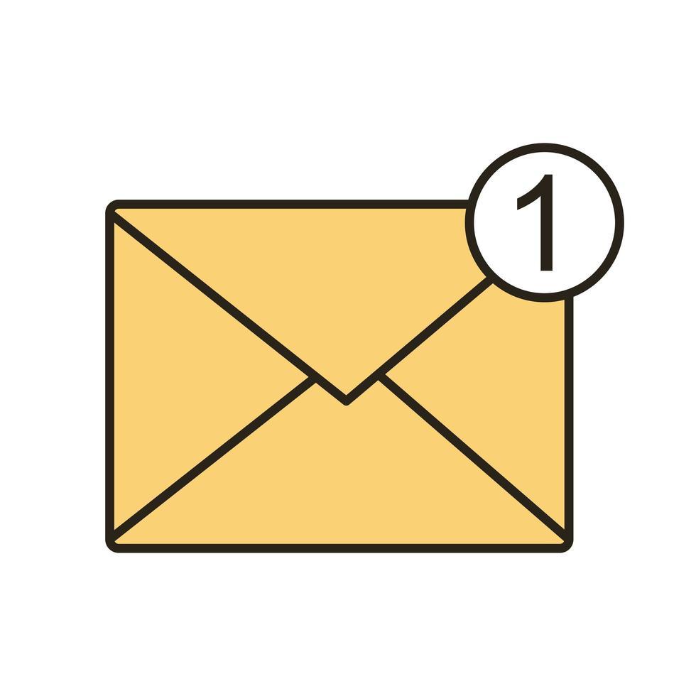 posta della busta con la linea numero uno e l'icona di stile di riempimento vettore