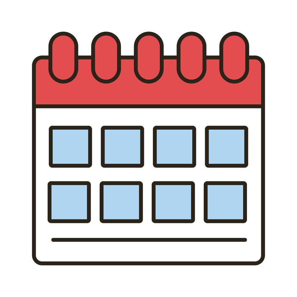 linea di promemoria del calendario e icona dello stile di riempimento vettore