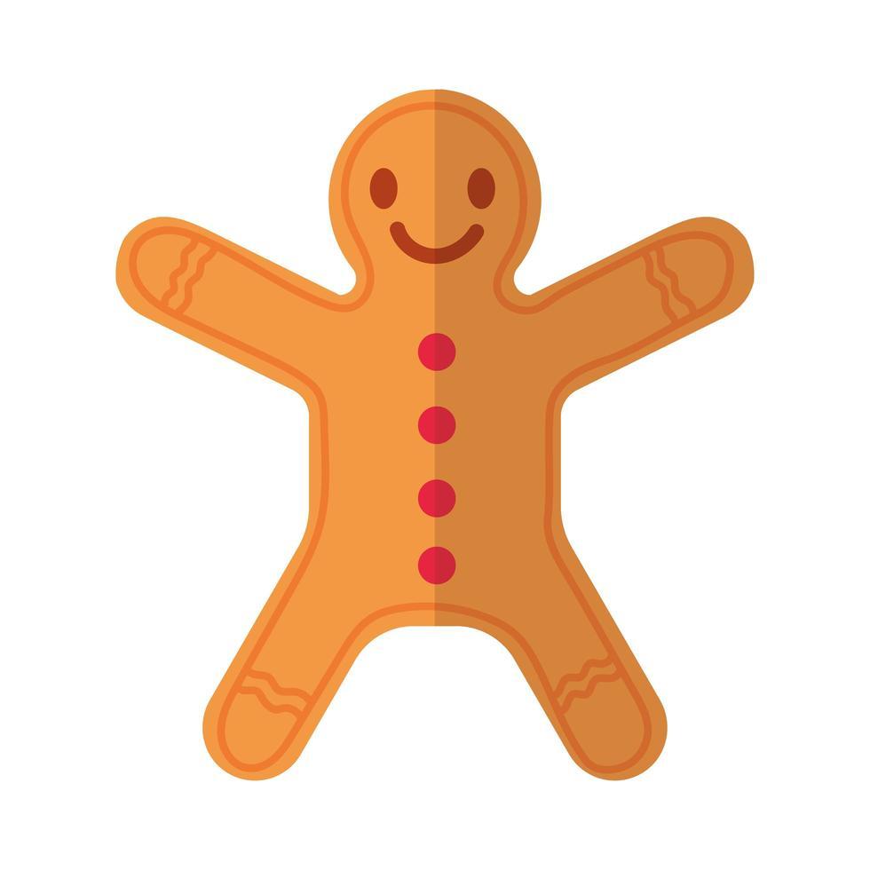 Buon Natale allo zenzero cookie piatto icona di stile vettore