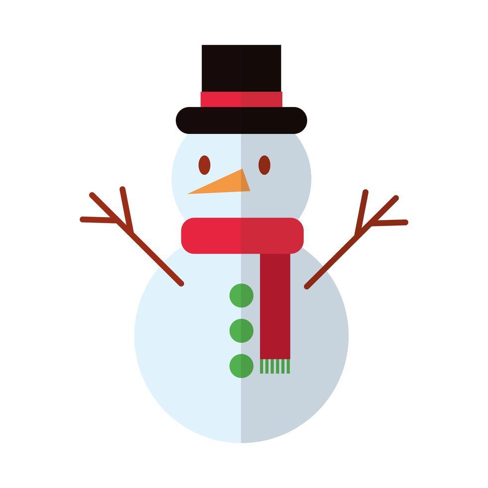 Buon Natale pupazzo di neve piatto icona di stile vettore
