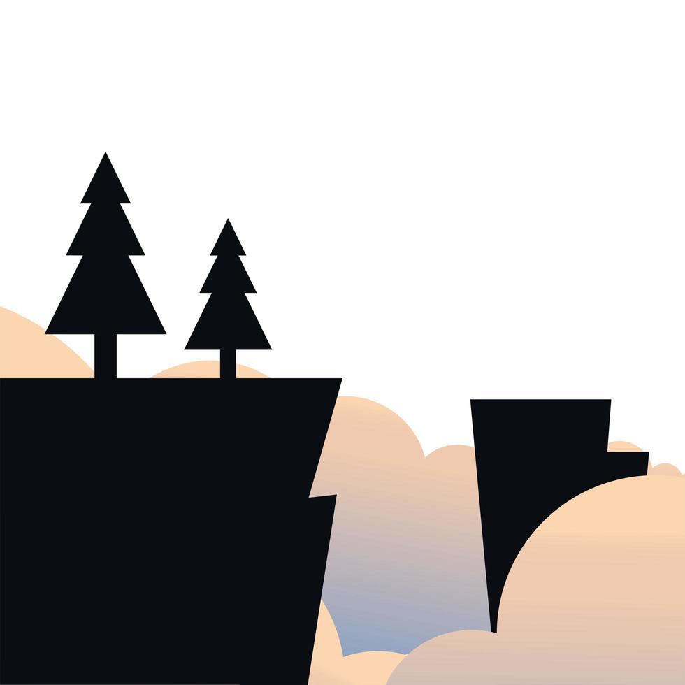 alberi di pino sulla scogliera con nuvole paesaggio disegno vettoriale