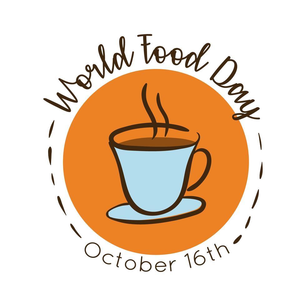 Lettering celebrazione della giornata mondiale dell'alimentazione con stile piatto caffè vettore