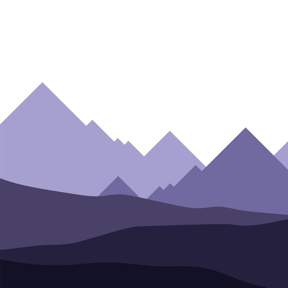 disegno vettoriale di montagne viola paesaggio