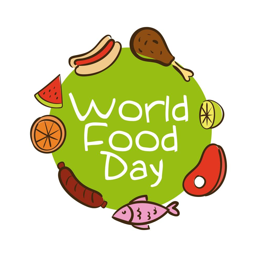 Lettering celebrazione della giornata mondiale dell'alimentazione con stile piatto di cibo sano vettore