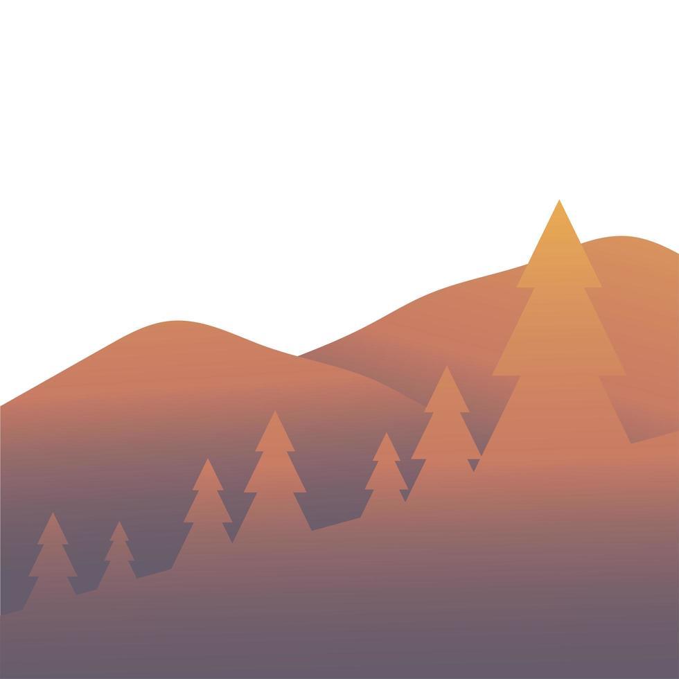 alberi di pino davanti al disegno vettoriale di paesaggio di montagna