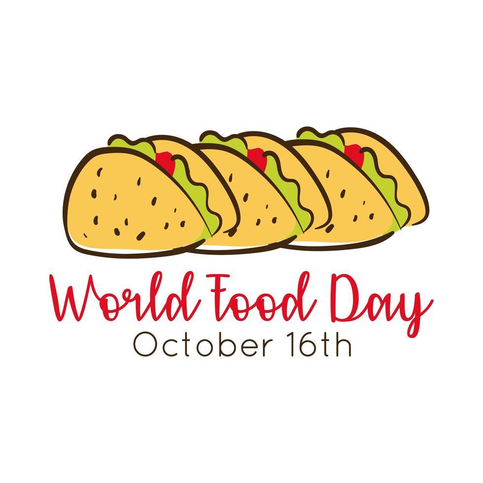 Iscrizione di celebrazione della giornata mondiale dell'alimentazione con tacos messicani stile piatto vettore