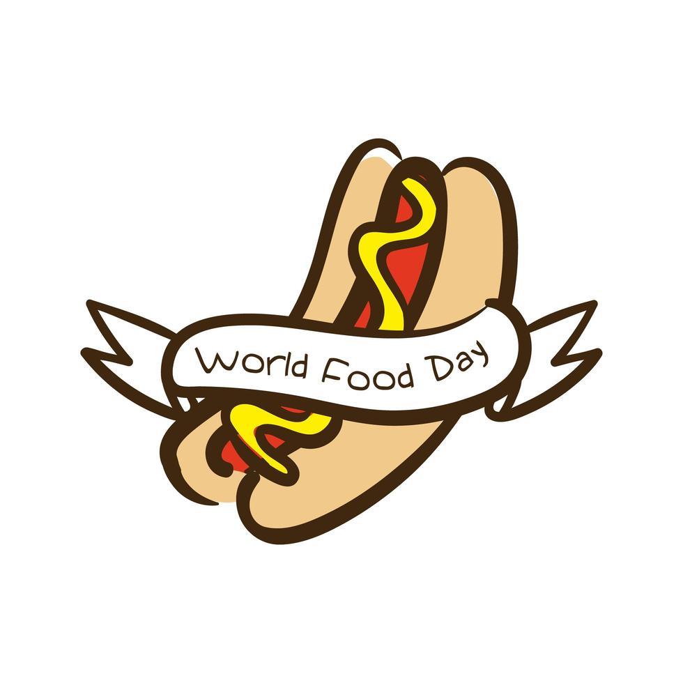 Lettering celebrazione della giornata mondiale dell'alimentazione con stile piatto hot dog vettore