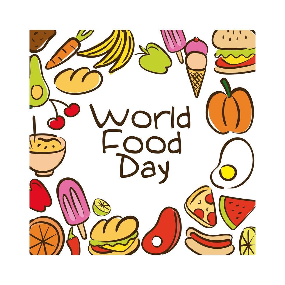 Lettering celebrazione della giornata mondiale dell'alimentazione con stile piatto modello alimentare vettore