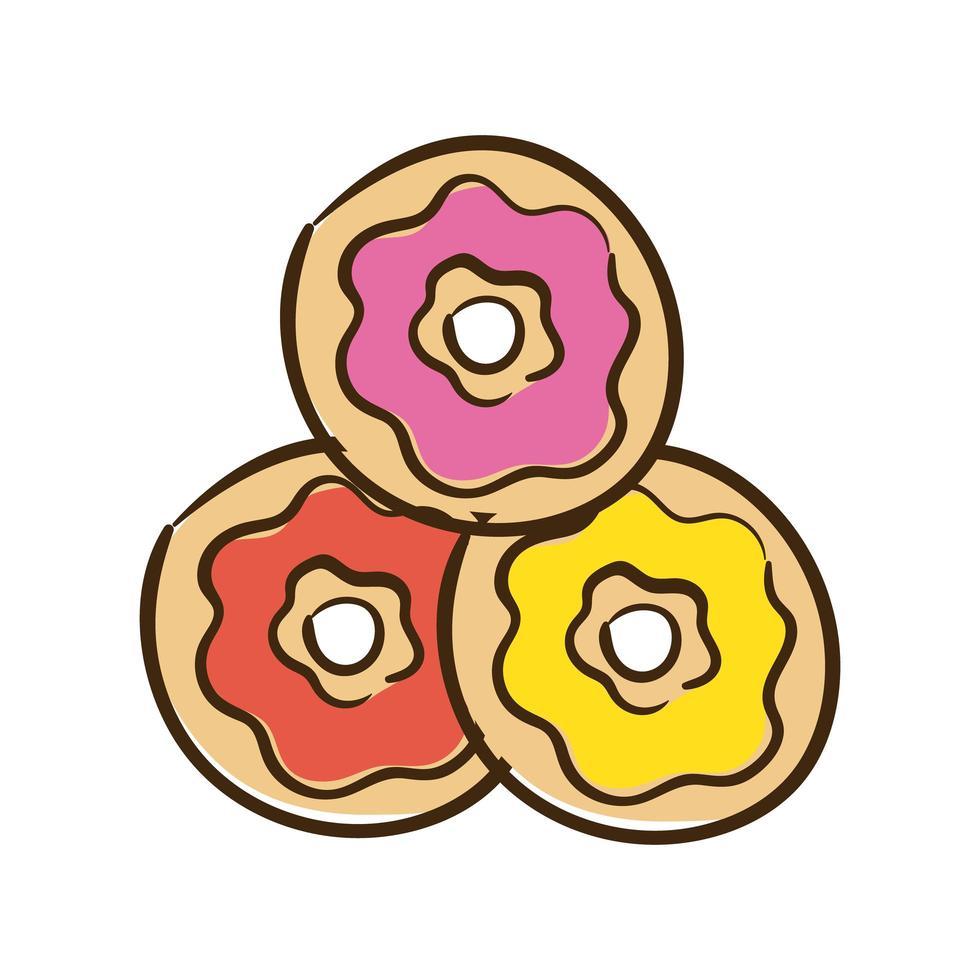 icona di stile piatto ciambelle dolci vettore