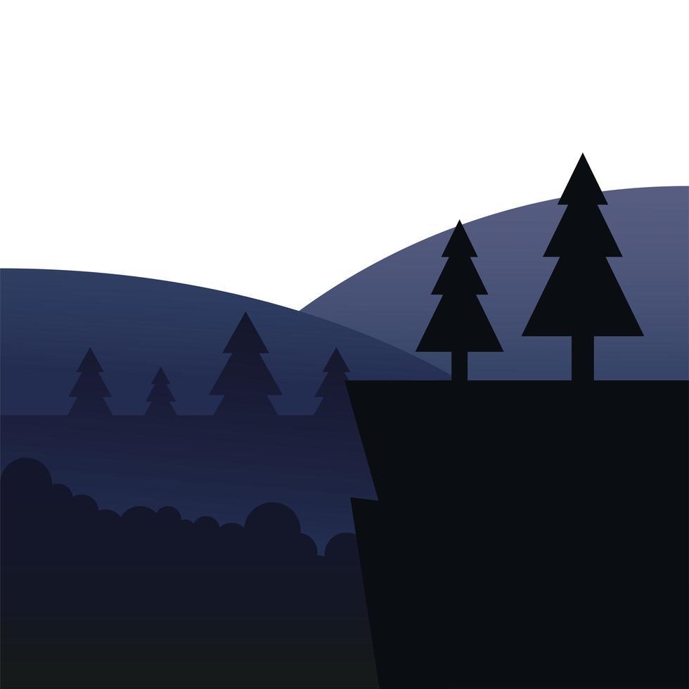 alberi di pino sulla scogliera di fronte al disegno vettoriale del paesaggio