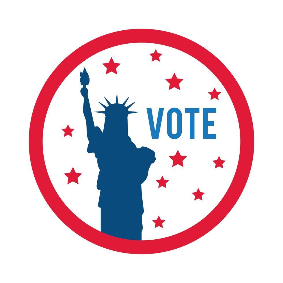 votare scritte e statua della libertà icona di stile piatto vettore