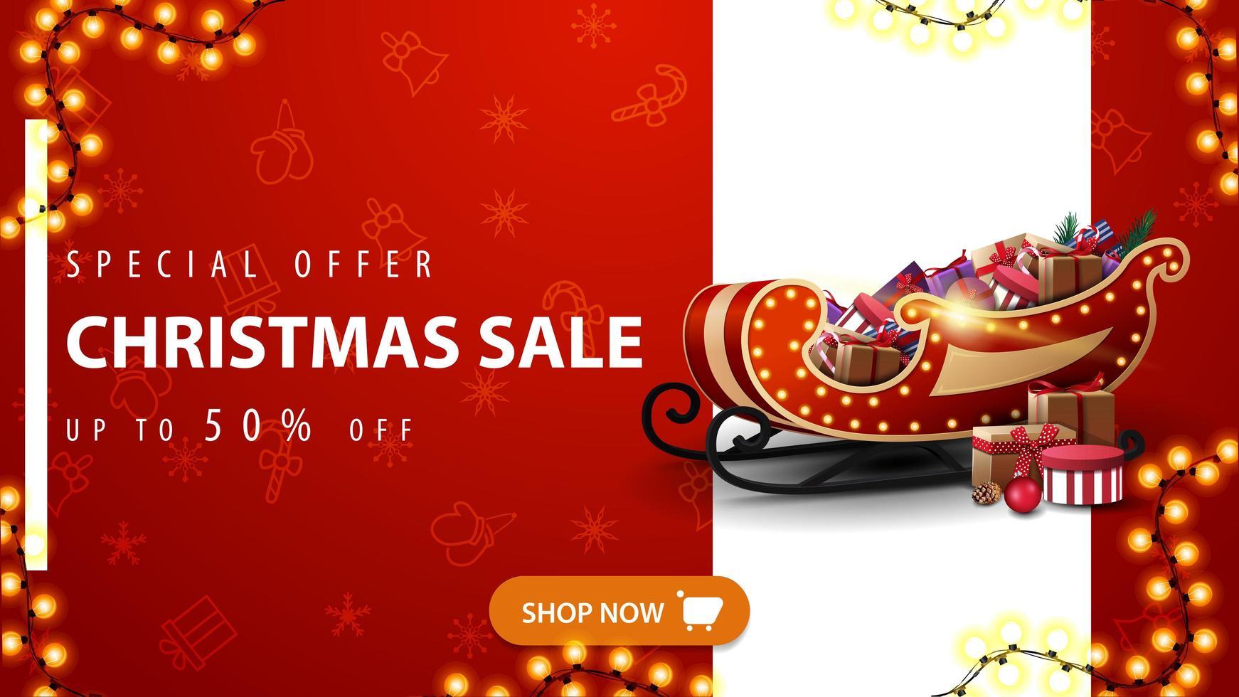 offerta speciale, saldi natalizi, sconti fino a 50, banner sconto rosso con linea bianca verticale, bottone arancione, motivo natalizio e slitta di Babbo Natale con regali vettore