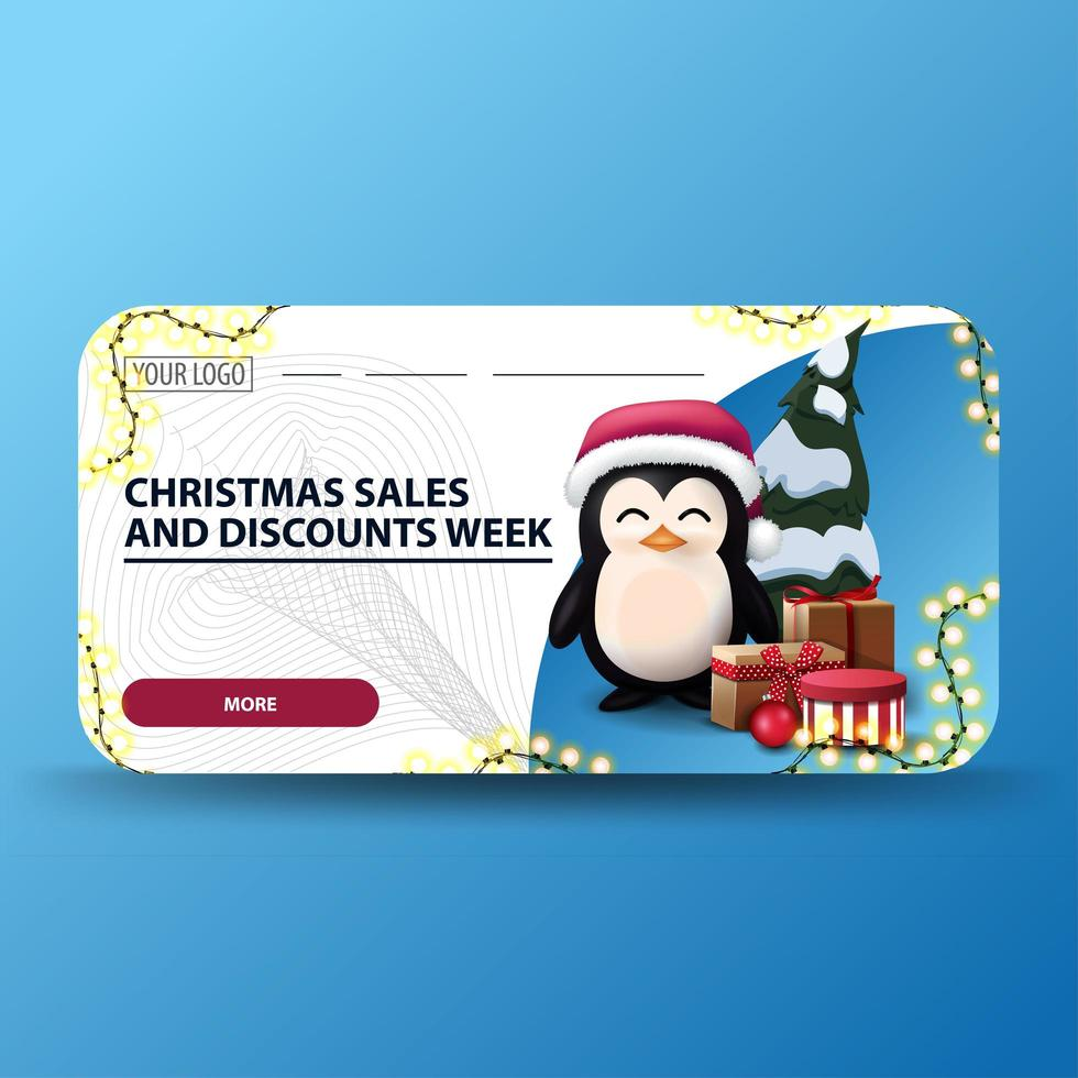 saldi natalizi e settimana di sconti, striscioni bianchi di sconti natalizi moderni con angoli arrotondati, ghirlanda e pinguino in cappello di Babbo Natale con regali vettore