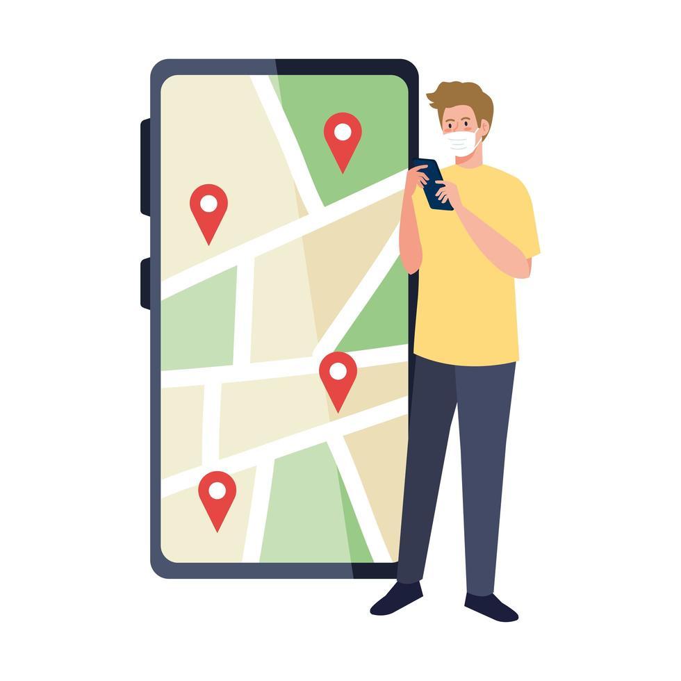 uomo con maschera che tiene smartphone e segni gps sulla mappa disegno vettoriale