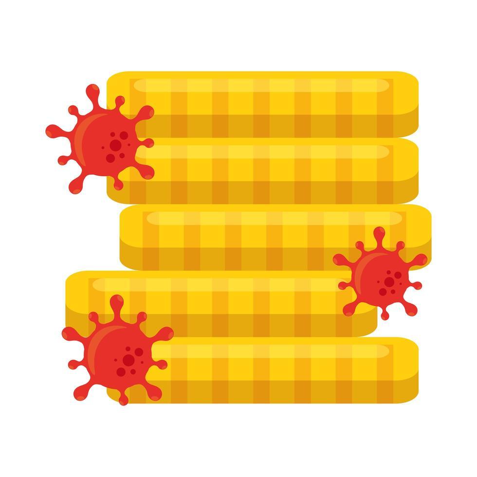 Torre di monete con il virus covid 19 del disegno vettoriale di fallimento