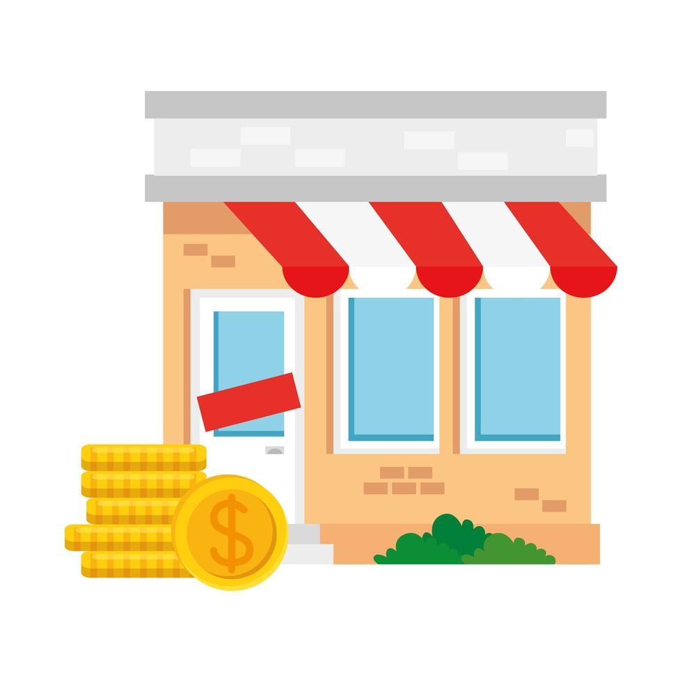 negozio con tenda e disegno vettoriale di monete del dollaro