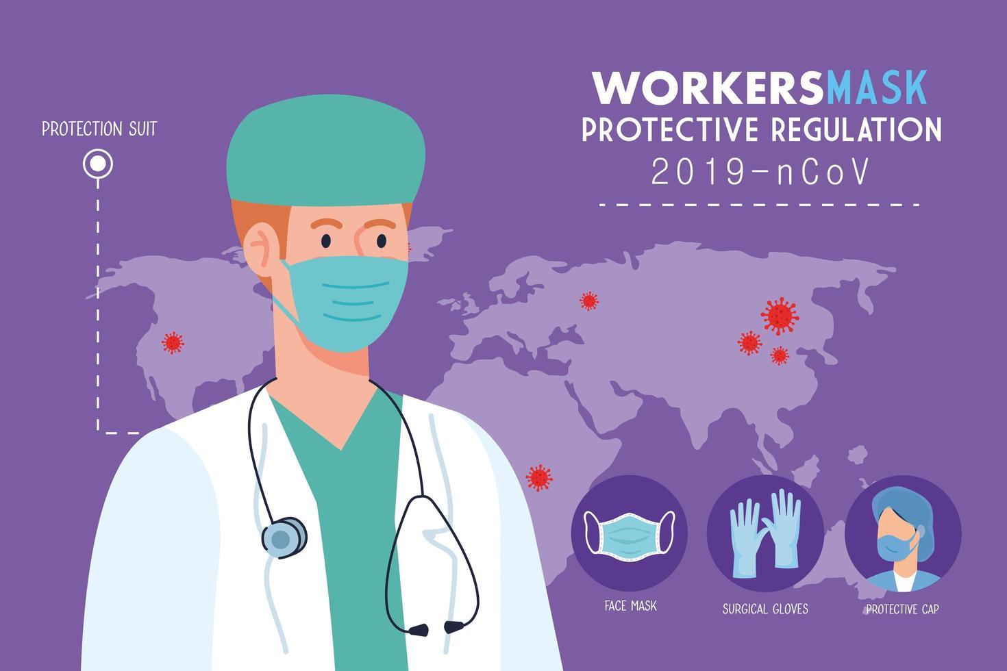medico che indossa una maschera medica contro il 2019 ncov, con regolamento protettivo per la prevenzione del coronavirus, concetto di pandemia vettore