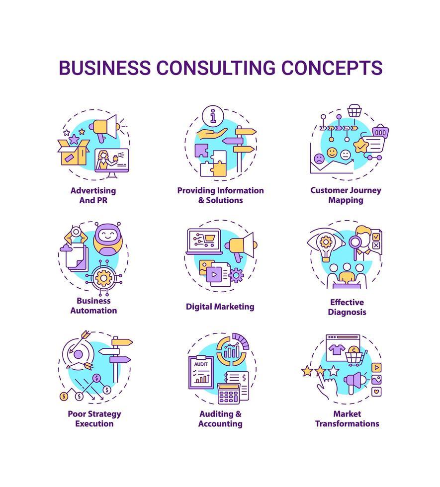 set di icone di concetto di consulenza aziendale vettore