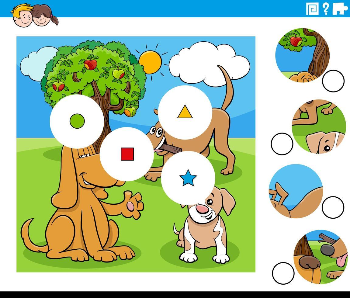 abbina i pezzi con i personaggi dei cani dei cartoni animati vettore