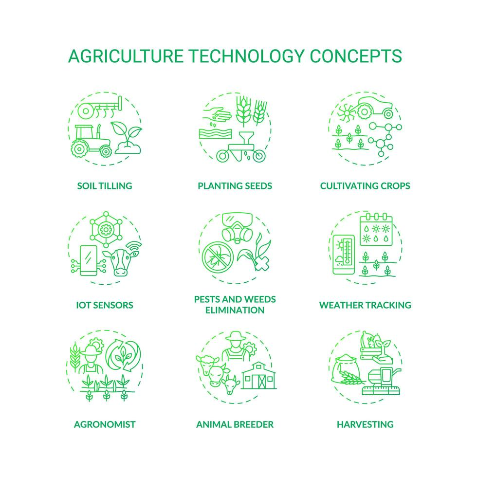 set di icone di concetto di tecnologia di agricoltura vettore