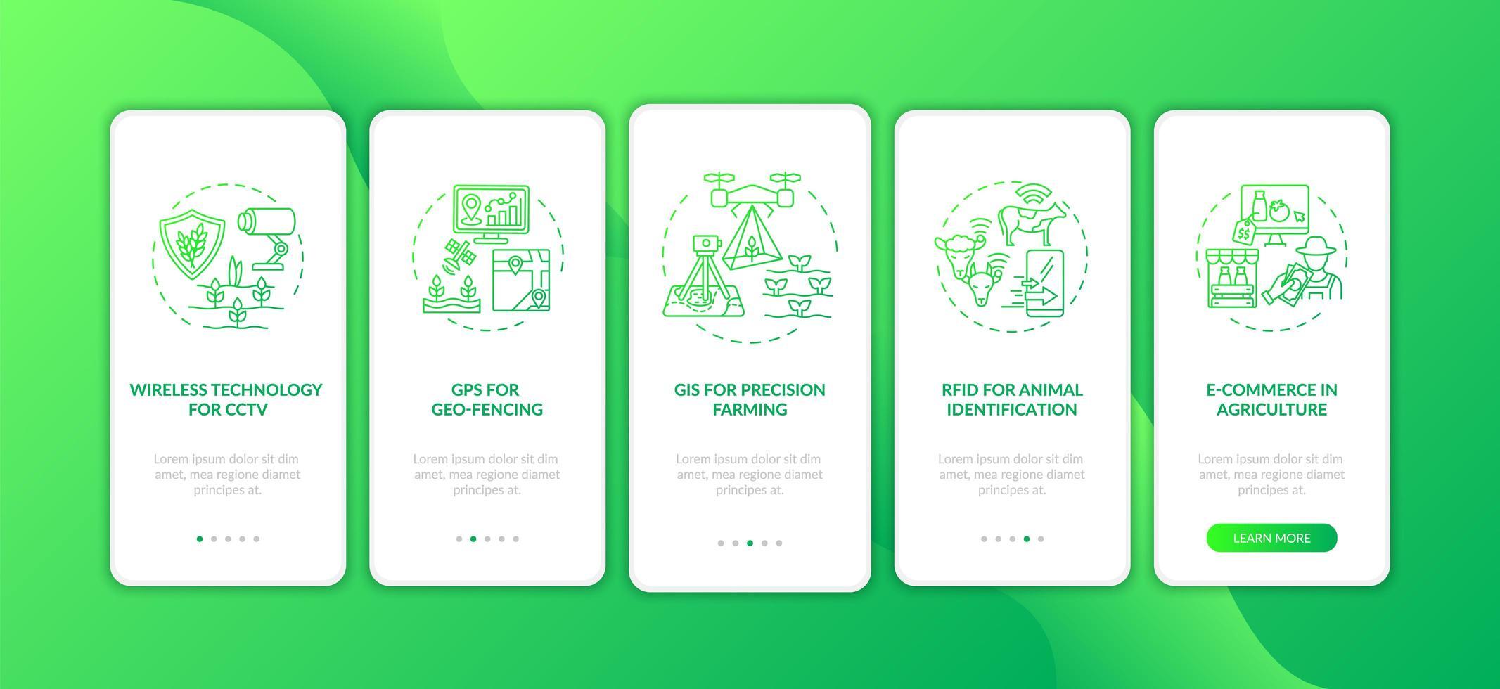 tecnologia dell'informazione in agricoltura onboarding schermata della pagina dell'app mobile con concetti vettore