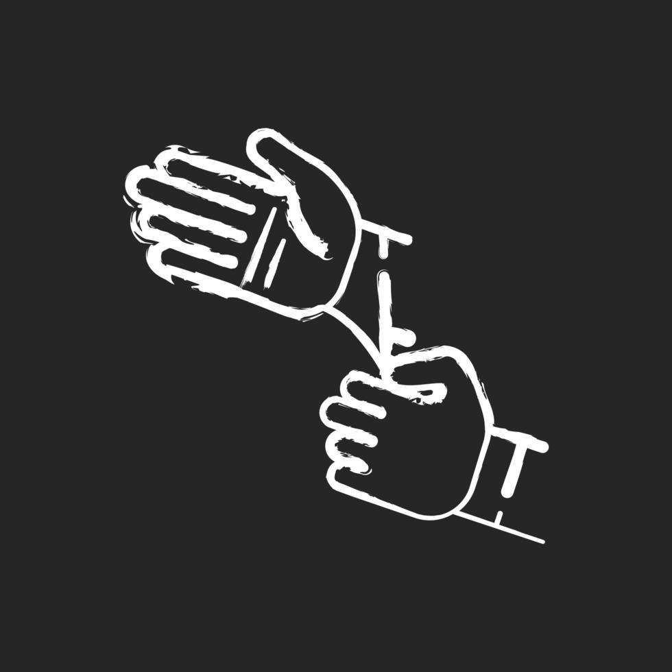 guanti sterili monouso gesso icona bianca su sfondo nero vettore
