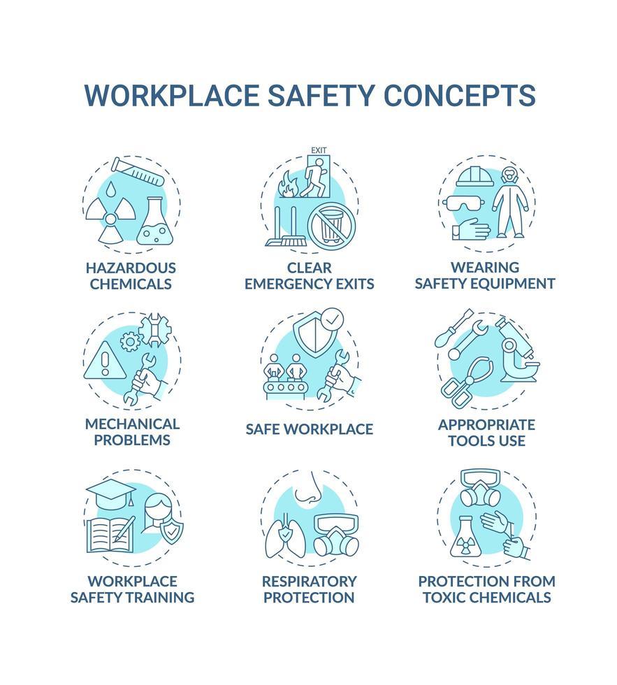 set di icone di concetto di sicurezza sul lavoro vettore