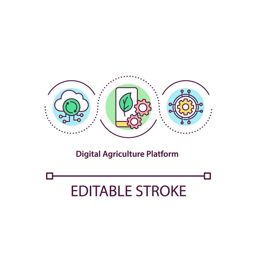 icona del concetto di piattaforma di agricoltura digitale vettore