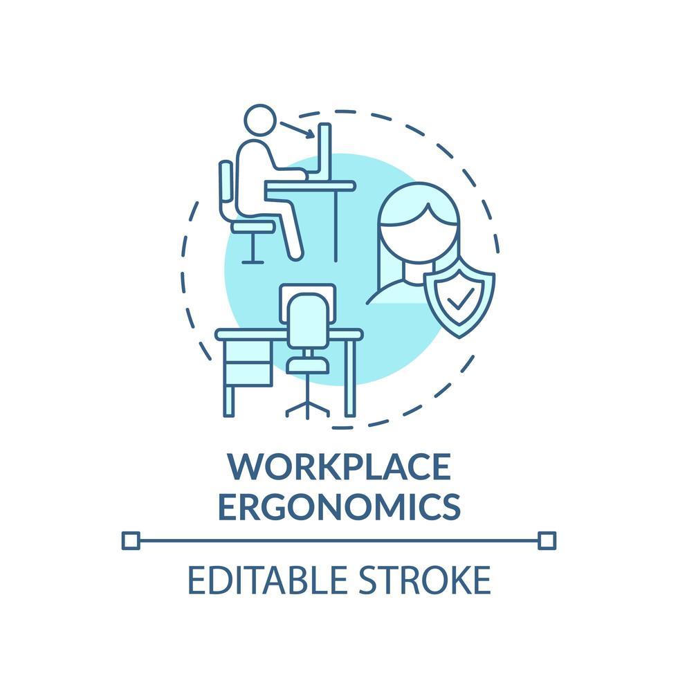 icona del concetto di ergonomia sul posto di lavoro vettore