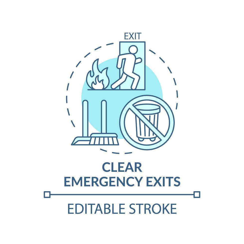 chiara icona del concetto di uscite di emergenza vettore