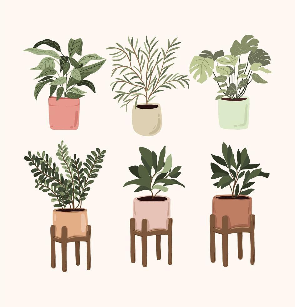 set di elementi decorativi per piante in vaso per interni adesivo pollice verde per bullet journal vettore