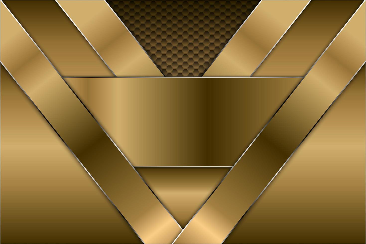 sfondo metallico oro con motivo esagonale vettore